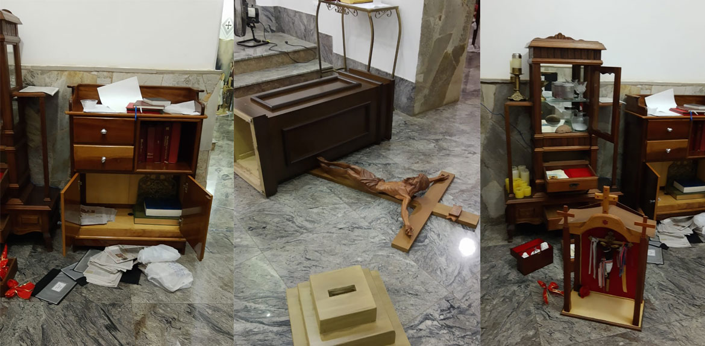 Ladrões arrombam e furtam Igreja Matriz de Pirangi